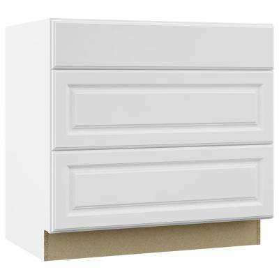 Hampton Assembled 36x34.5x24 in. Pots and Pans Drawer Base Kitchen Cabinet in Satin White