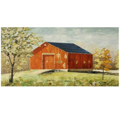 Hand-Painted Textured Barn House Hand Painted Canvas Wall Art