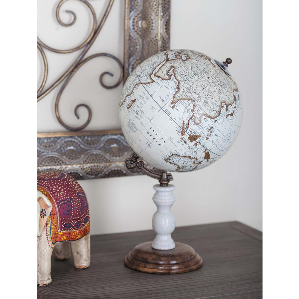 14 in. x 8 in. Vintage Decorative Globe in Brown and