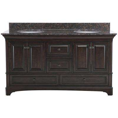 Moorpark 61 in. W x 22 in. D Double Bath Vanity in Burnished Walnut with Granite Vanity Top in Brown