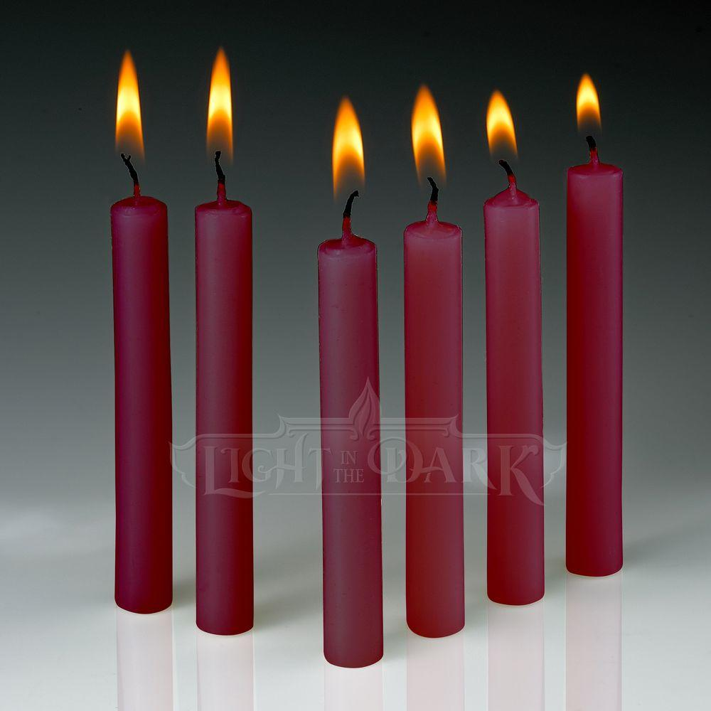 Light In The Dark 4 in. x 1/2 in. Thick Red Taper Candles (Set of 60)