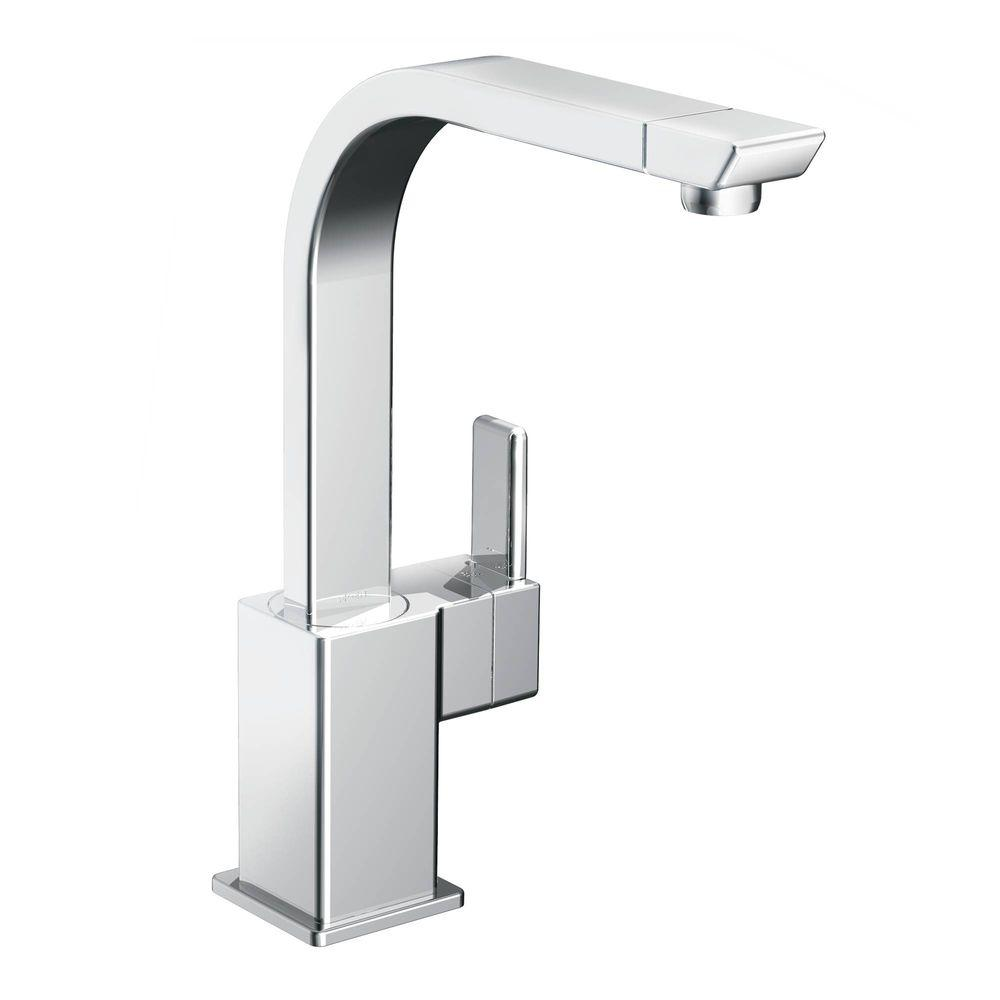 MOEN 90-Degree High-Arc Single-Handle Standard Kitchen Faucet in Chrome