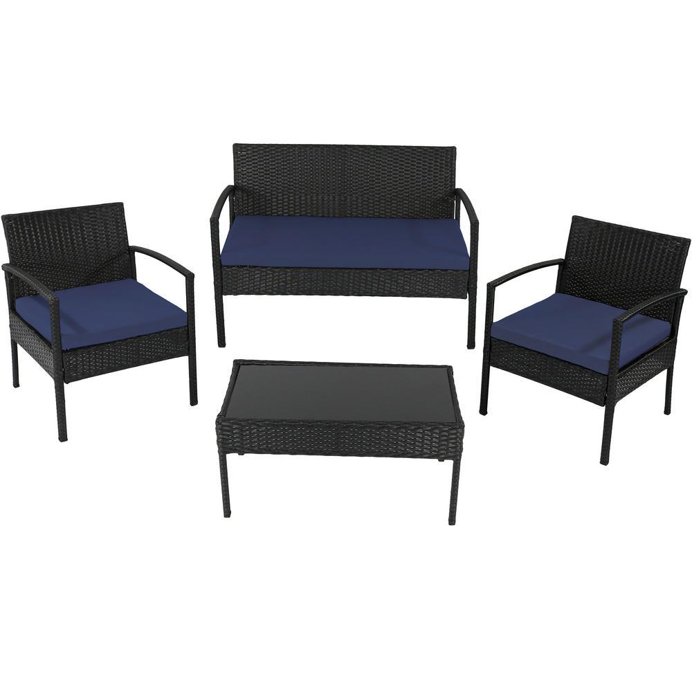 Anadia 4-Piece Black Rattan Outdoor Conversation Set with Dark Blue Cushions