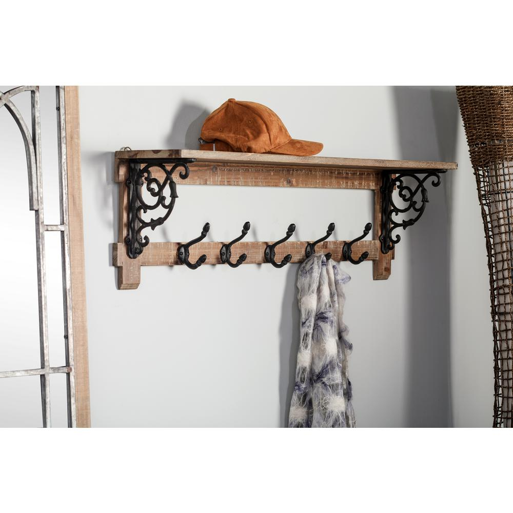 Litton Lane Brown Wooden Wall Shelf With 5 Black Iron Double Hooks