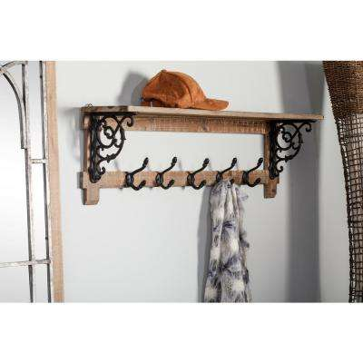 Brown Wooden Wall Shelf with 5-Black Iron Double Hooks