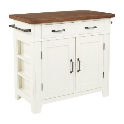 Urban Farmhouse Kitchen Island White Base with Vintage Oak Top