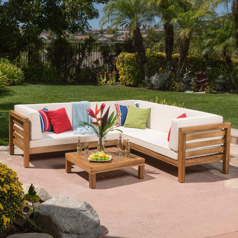 Noble House Oana Teak Finish 4-Piece Wood Outdoor Sectional Set with Beige  Cushions