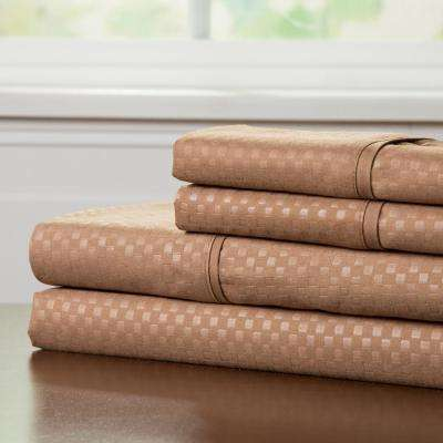 Embossed 4-Piece Taupe 90 GSM Microfiber Queen Sheet Set