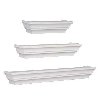 Madison 12 in. W x 4.75 in. D, 16 in. W x 4.75 in. D & 24 in. x 4.75 in. D Set of 3 White Contoured Wall Shelf