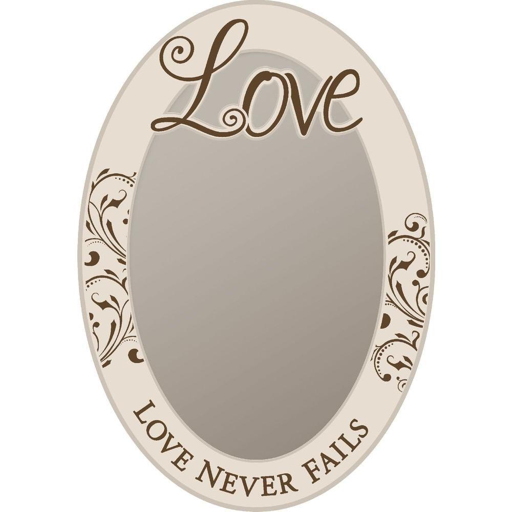 P. Graham Dunn 18 in. x 26.5 in. White Wood Love Framed Mirror