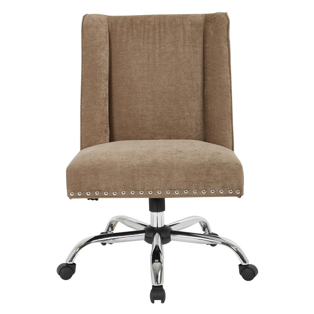 OSP Home Furnishings Alyson Managers Chair in Earth Fabric with silver nail heads and Chrome Base, Earth Polyester OSP Home Furnishings Alyson Managers Chair in Earth Fabric with silver nail heads and Chrome Base, Earth Polyester