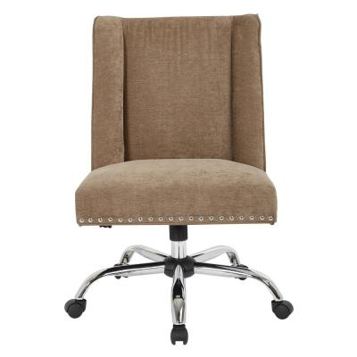 Alyson Managers Chair in Earth Fabric with silver nail heads and Chrome Base