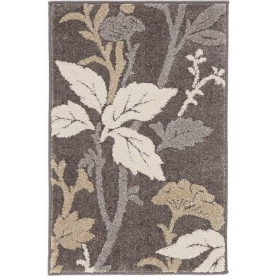 Blooming Flowers Gray 2 ft. x 3 ft. Scatter Rug