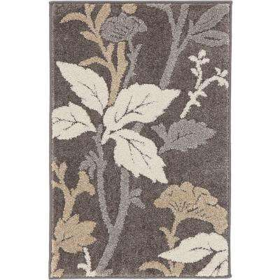 Blooming Flowers Gray 3 ft. 3 in. x 4 ft. 7 in. Area Rug