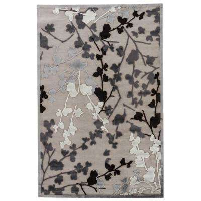 Machine Made Glacier Gray 2 ft. x 3 ft. Floral Area Rug
