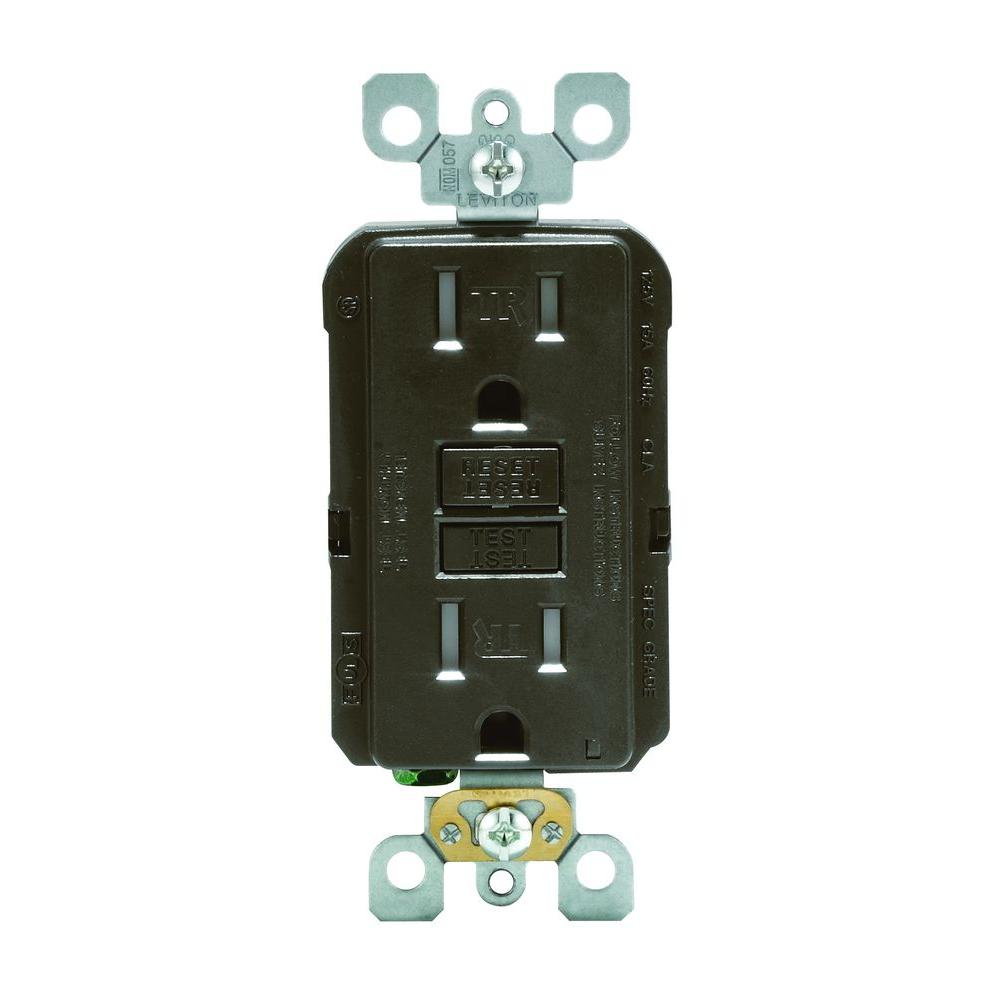 Leviton SmartlockPro 15 Amp Slim Tamper-Resistant GFCI Outlet, Brown