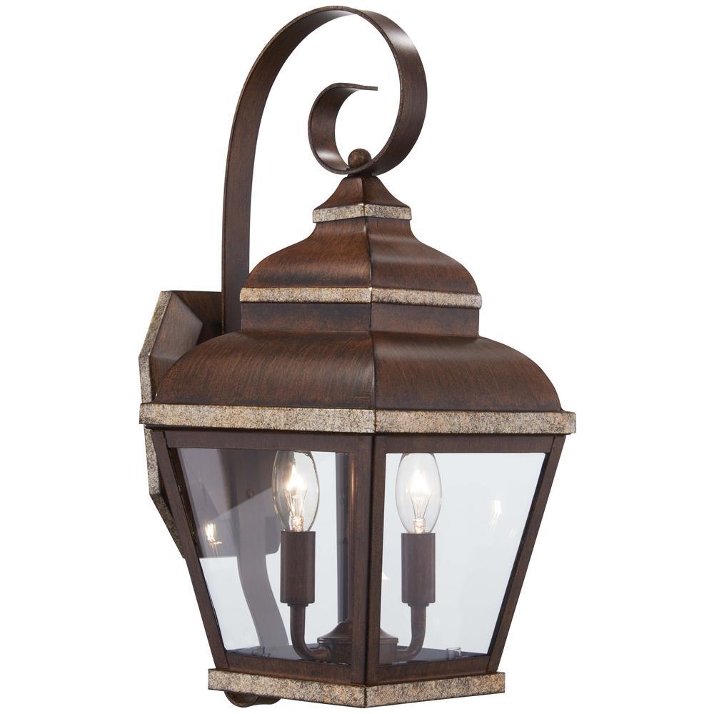 2-Light Mossoro Walnut with Silver Highlights Outdoor Wall Mount Lantern