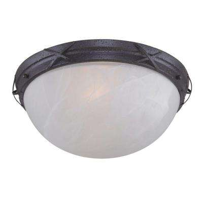 Claremont Flush-Mount 2-Light Outdoor Textured Rust Patina Fixture
