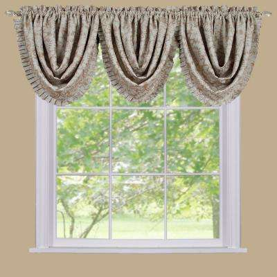 Blackout Sutton 36 in. L Polyester Waterfall Valance in Tan