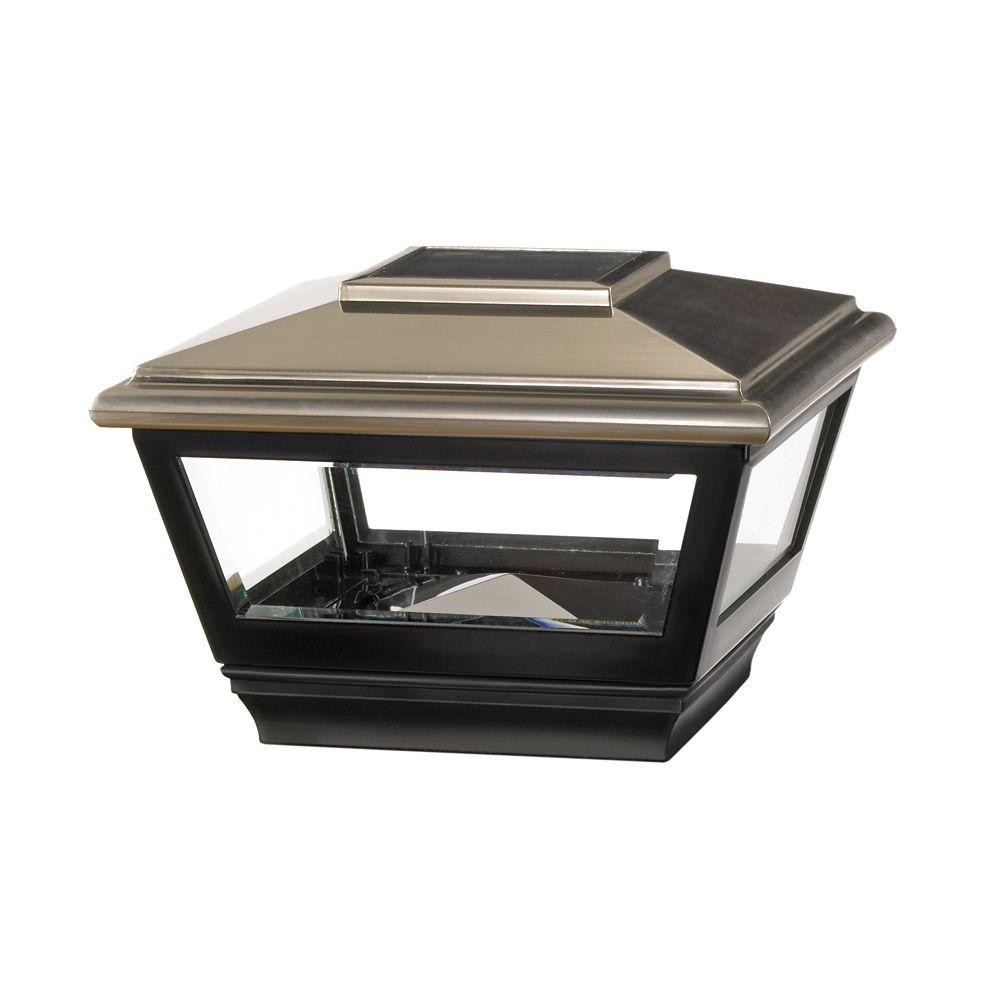 Vinyl Solar Light Stainless Top Square Post Cap With Black Base