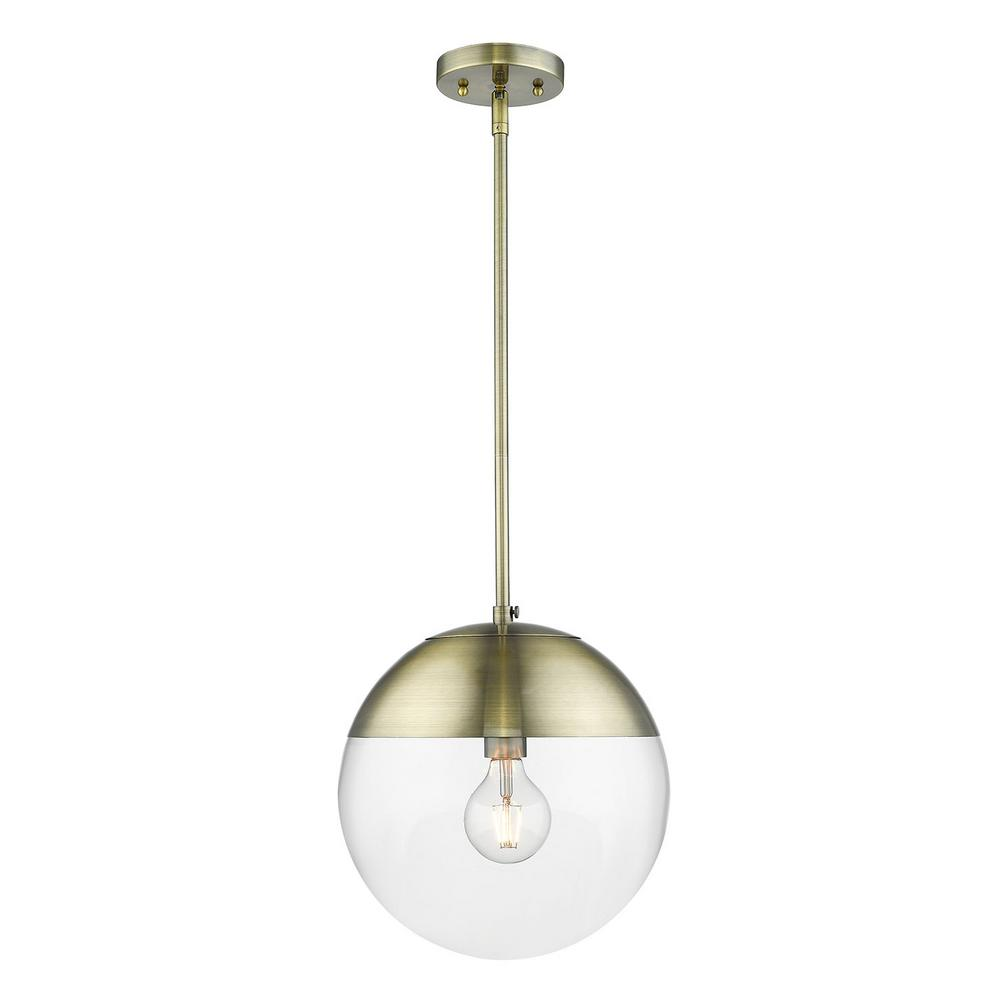 Golden Lighting Dixon 1-Light Aged Brass with Clear Glass and Aged Brass Cap Pendant