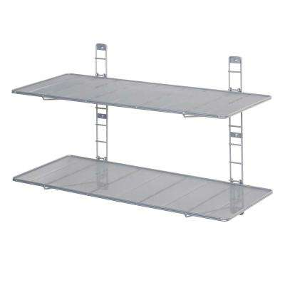 2 Shelf 36 In. W Steel Wire Mesh Heavy Duty Wall Mount Floating Storage