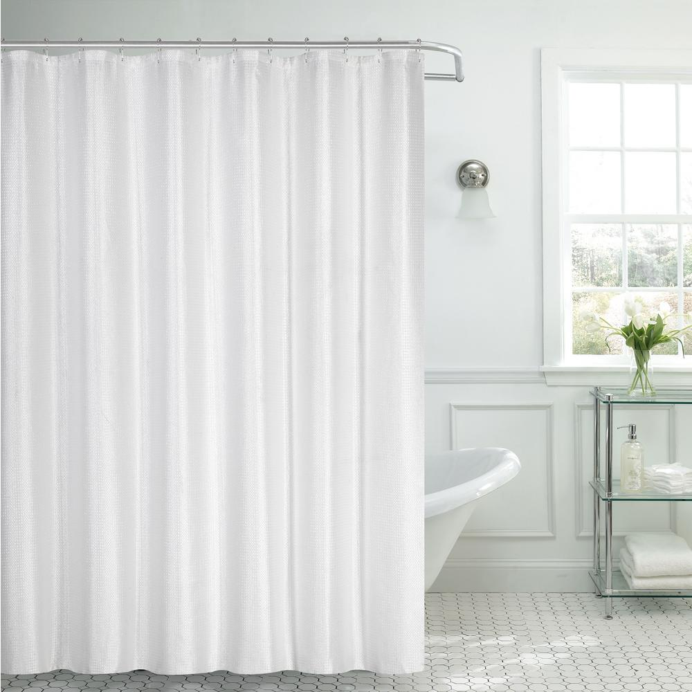 Dainty Home Waffle Textured 72 in. White Shower Curtain with Lurex ...