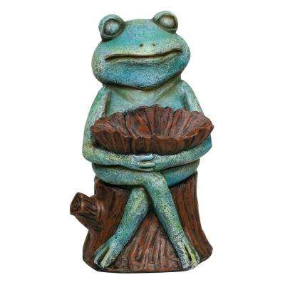 15 in. Tall Green Sleeping Frog Holding a Flower Statue