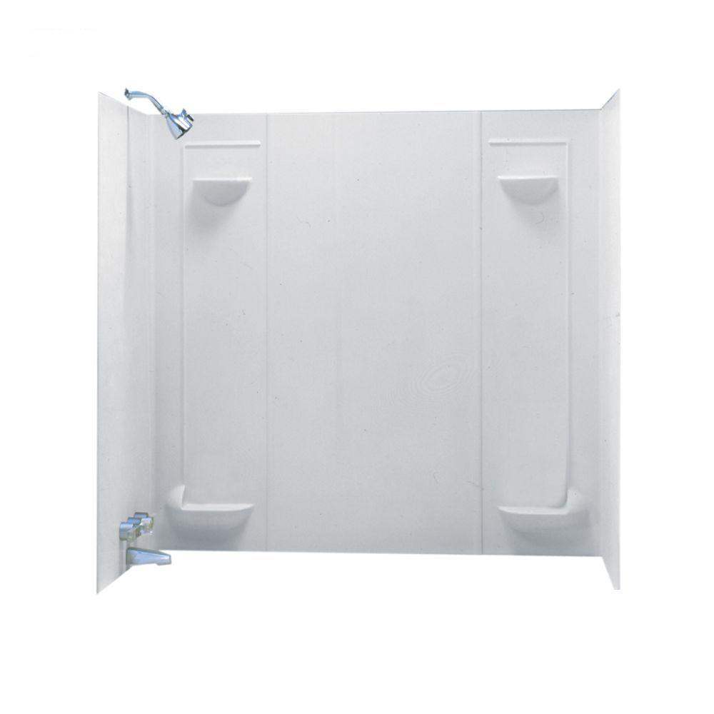Swan 30 in. x 60 in. x 57 in. 5-Piece Easy Up Adhesive Alcove Tub ...