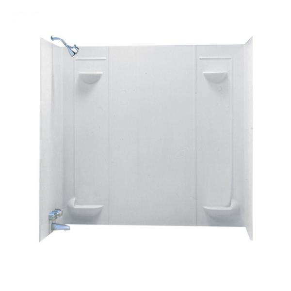 60 in. W x 57 in. H x 30 in. D Veritek 5-Piece Easy Up Adhesive Alcove Tub Surround in White