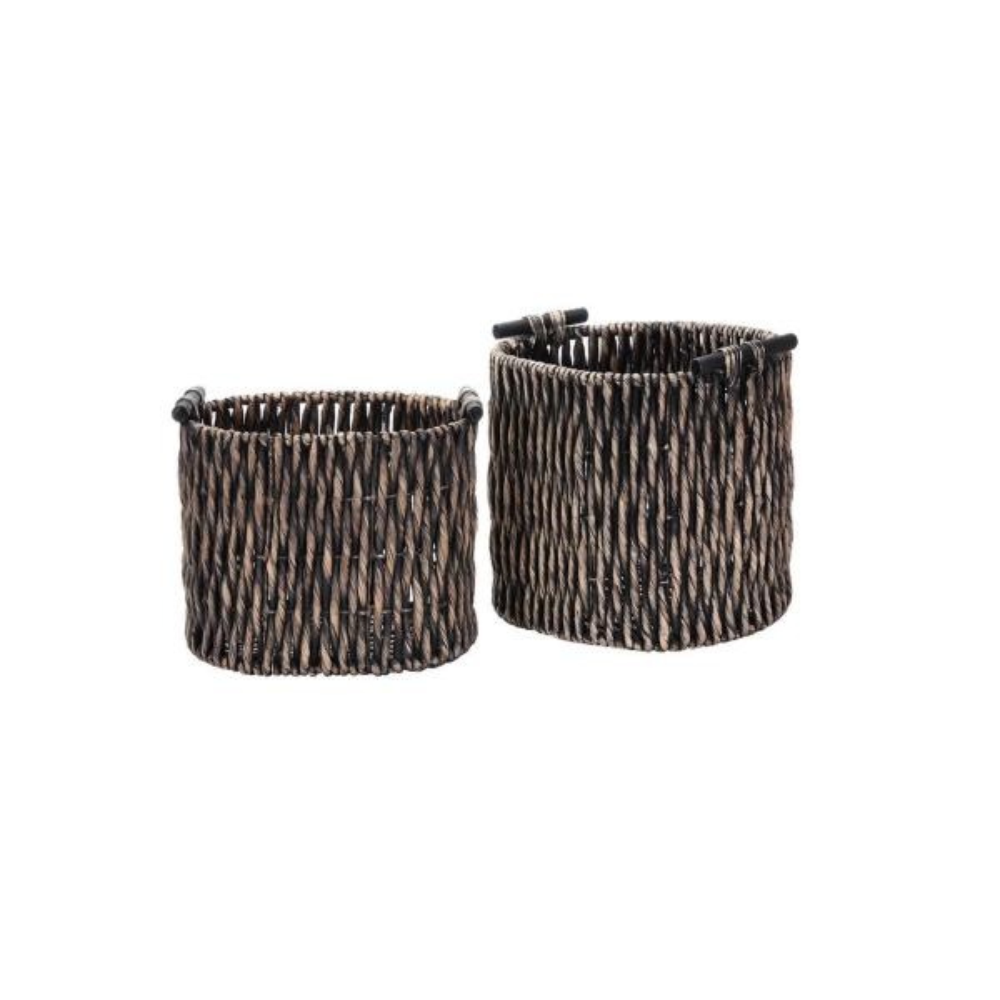 Villacera Black Handmade Water Hyacinth Twisted Wicker Oval Nesting Baskets