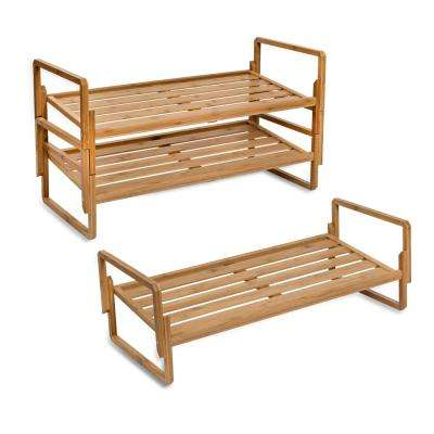 12-Pair Bamboo 3-Tier Shoe Organizer