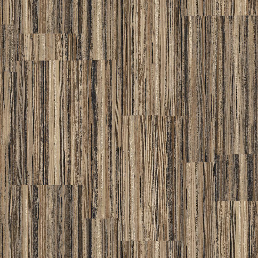 The Wallpaper Company 56 sq. ft. Brown Earth Tone Patchwork Stripe Wallpaper