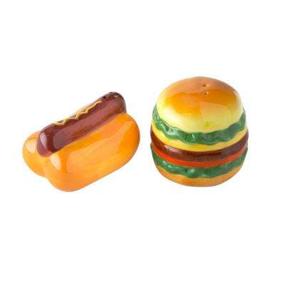 Picnic 2 oz. Multicolor Ceramic Salt and Pepper Shakers with Figural Shapes