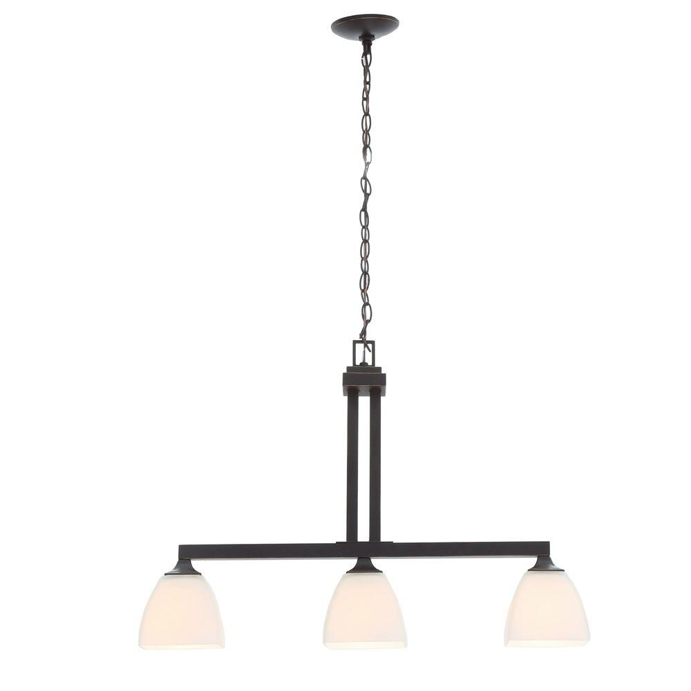 7e0141ac766 Hampton Bay Mattock 3-Light Oil Rubbed Bronze Kitchen Island Light with  Glass Shades