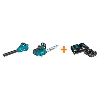 18V X2 LXT Blower and 18V X2 LXT 16 in. Top Handle Chain Saw with bonus 18V LXT Starter Pack