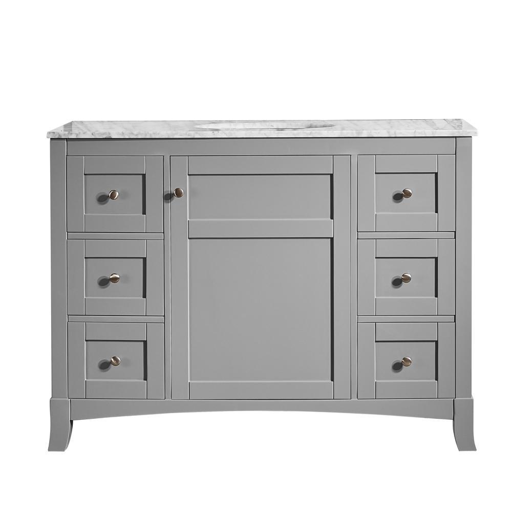 Vinnova Arezzo 48 in. W x 22 in. D x 36 in. H Vanity in Grey with Marble Vanity Top in Carrara White with White Basin