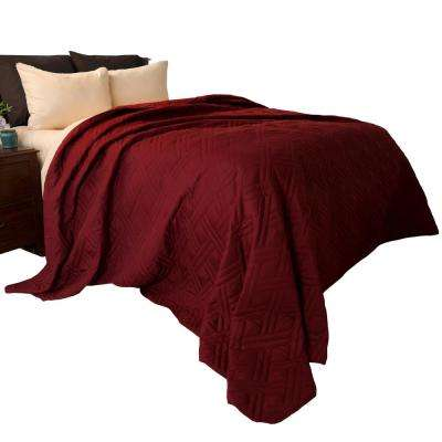 Solid Color Burgundy King Bed Quilt