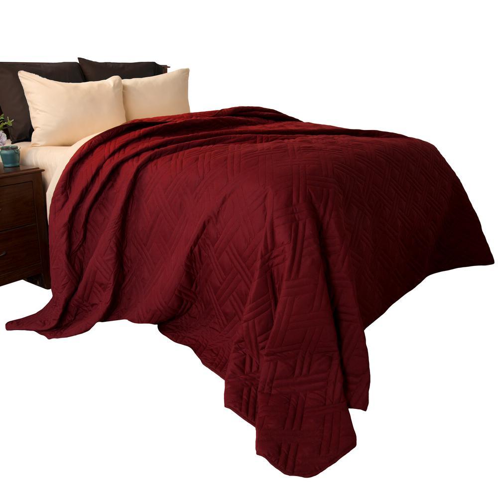 Solid Color Burgundy King Bed Quilt