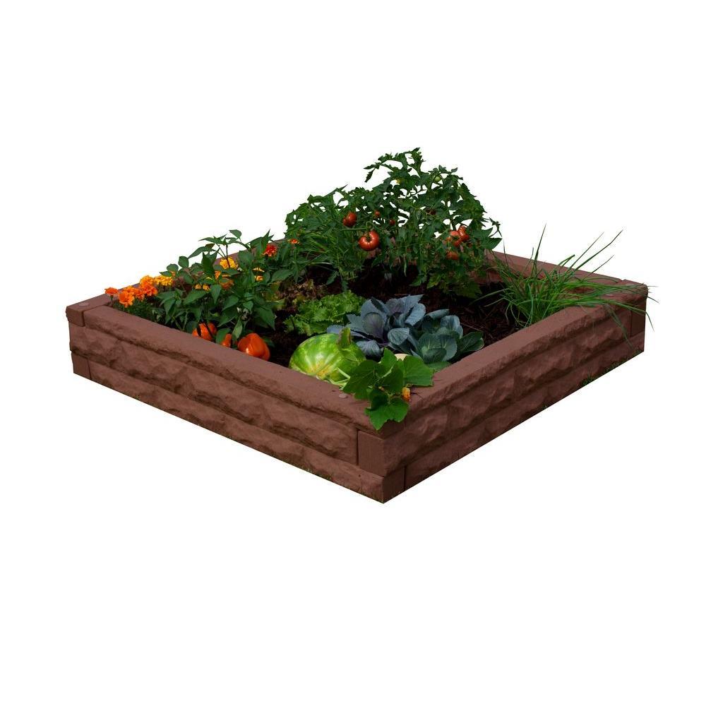 Red Brick Plastic Raised Garden Bed