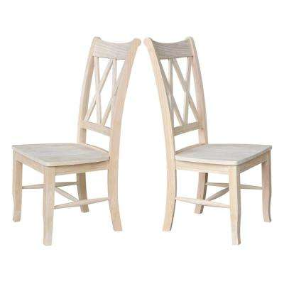 Unfinished Wood Double X-Back Dining Chair (Set of 2)