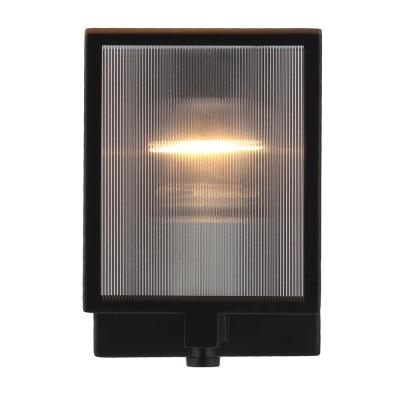 Henessy 1-Light Black and Brushed Nickel Wall Sconce with Reeded Glass