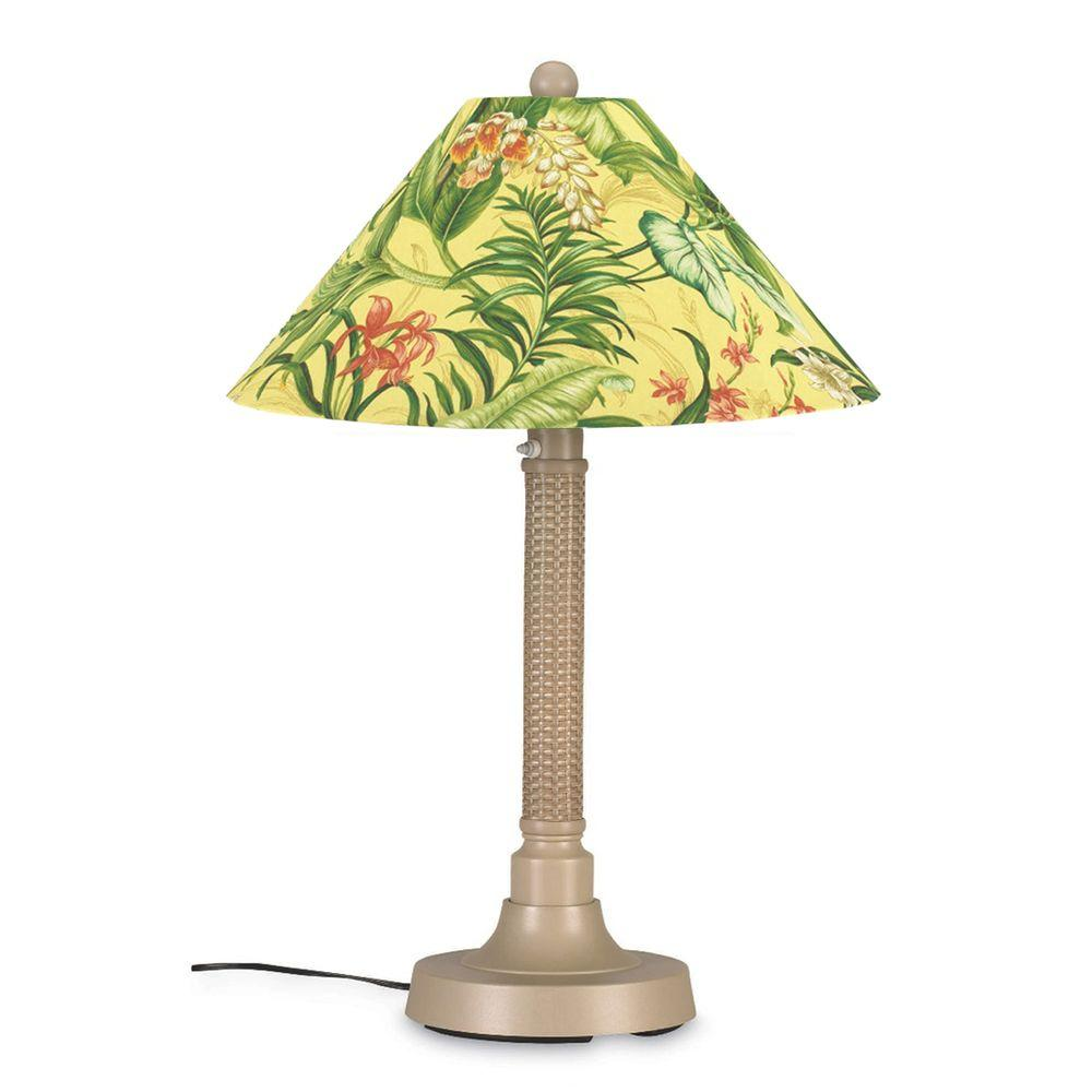 Patio Living Concepts Bahama Weave 34 in. Outdoor Mojavi Table Lamp with Soleil Shade
