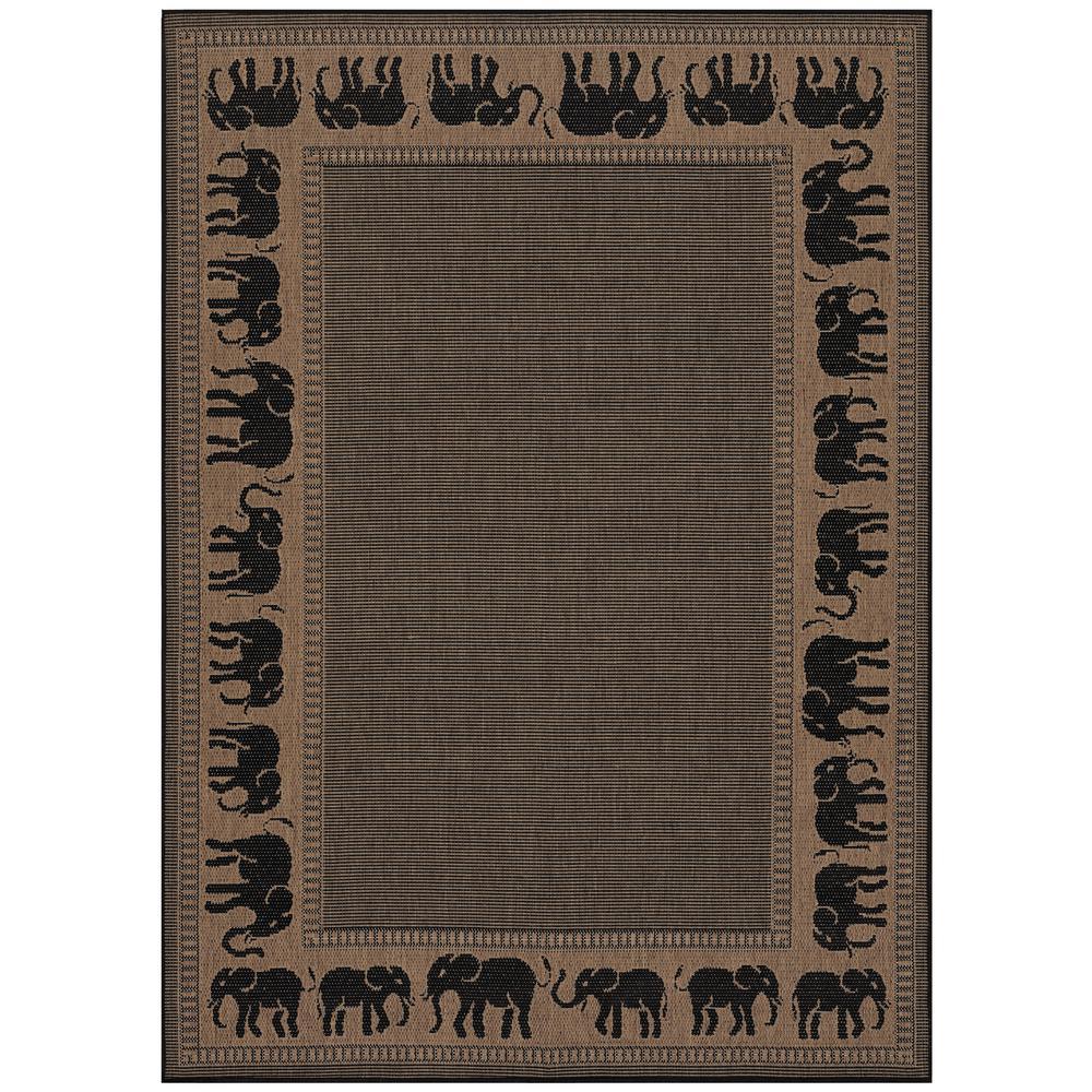 Recife Elephant Cocoa-Black 9 ft. x 13 ft. Indoor/Outdoor Area Rug