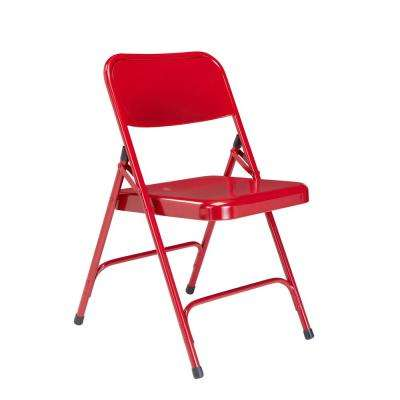 200 Series Red Premium All-Steel Double Hinge Folding Chair (4-Pack)