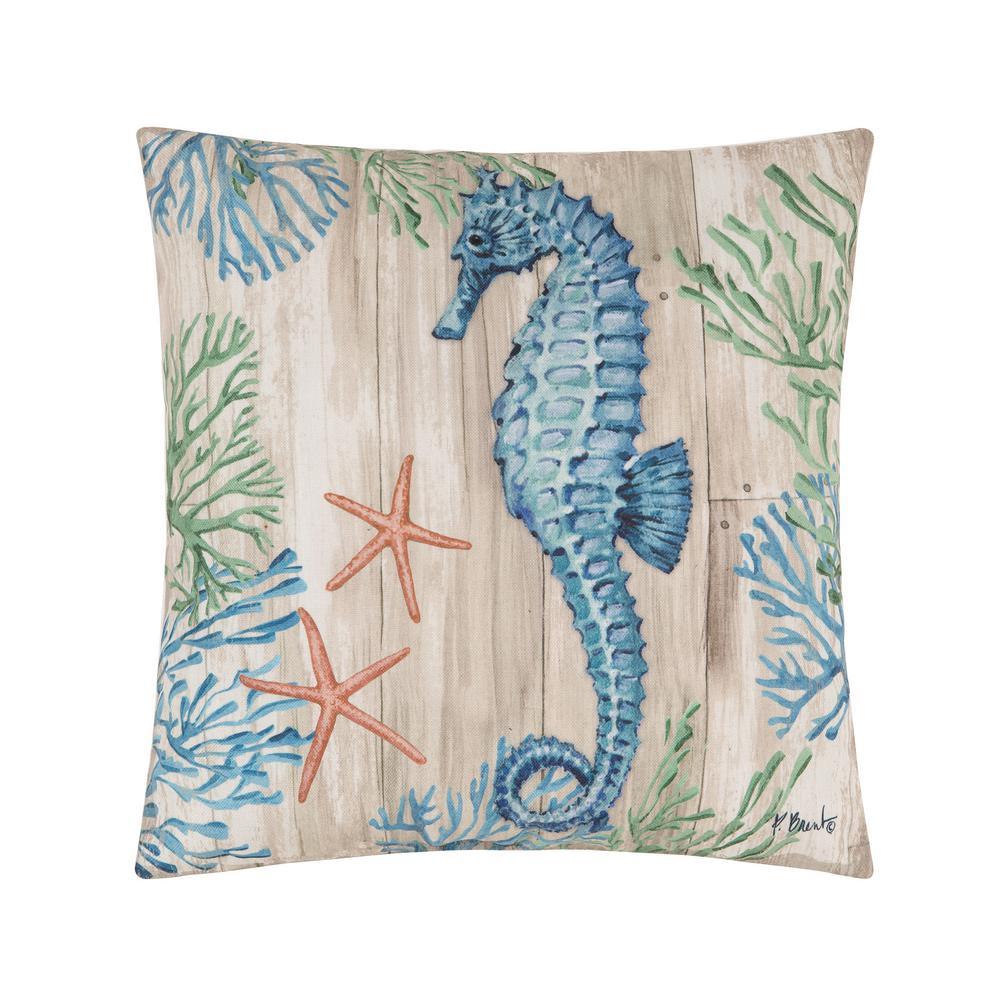 Tan Clearwater Sealife II Indoor/Outdoor 18 in. x 18 in. Standard Throw Pillow