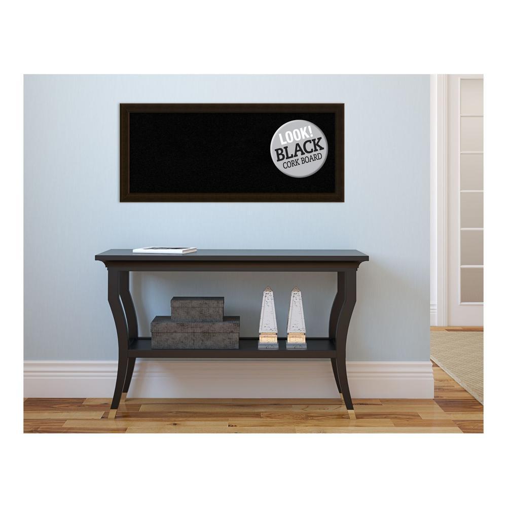 Espresso Brown Wood 32 in. x 14 in. Framed Black Cork Board