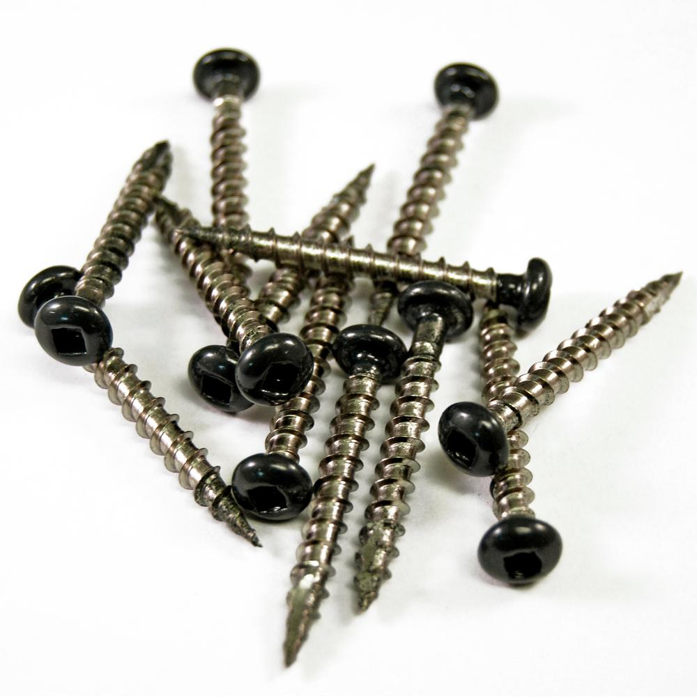 Veranda 1-1/2 in. Black Stainless Steel Screw (12-Piece/Bag)