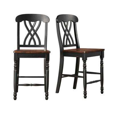 Anna 24 in. Black and Cherry Bar Stool (Set of 2)