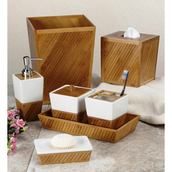unbranded spa bamboo 7-piece ceramic/bamboo bath accessory set in white/tan/brown-sbm07 - the